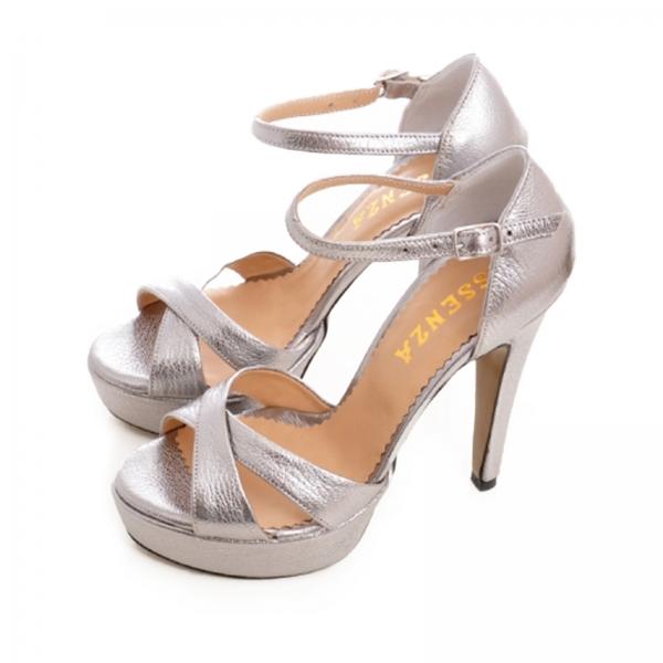 Sandale din piele argintie platina 2