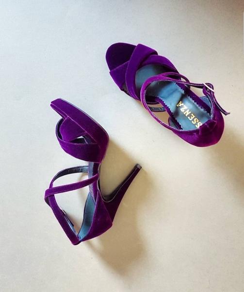 Sandale din catifea mov 0