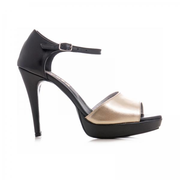 Sandale din piele neagra si auriue 0