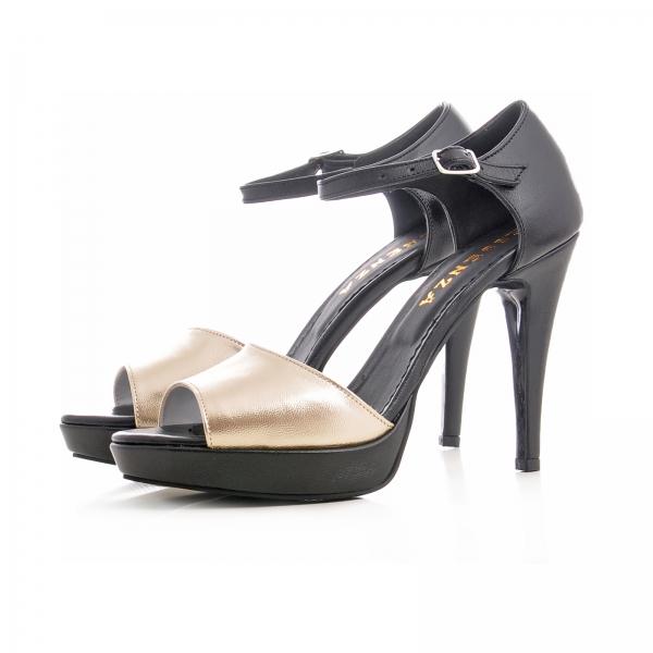 Sandale din piele neagra si auriue 1