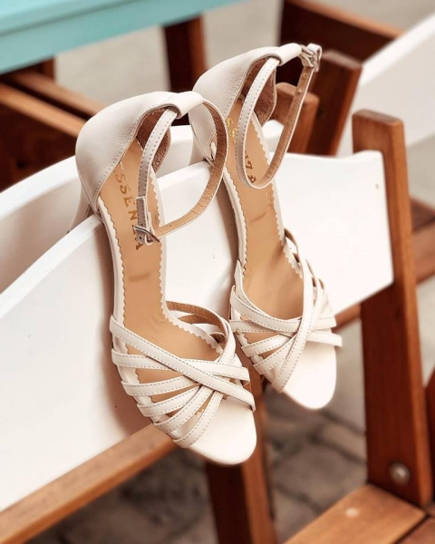 Sandale cu barete, din piele naturala, alb unt 0