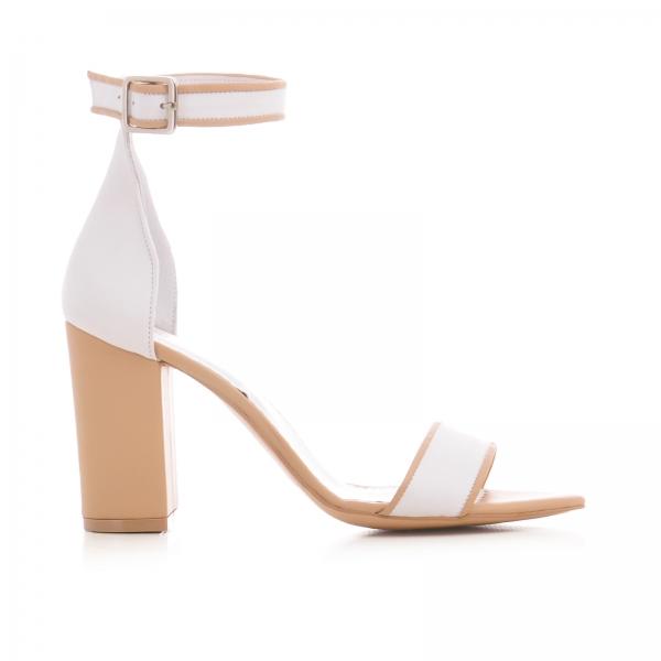 Sandale din piele alba si bej, cu toc gros 0