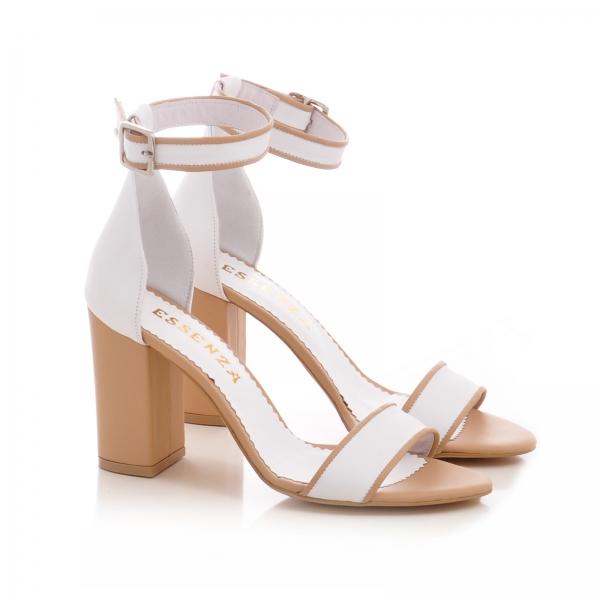 Sandale din piele alba si bej, cu toc gros 1