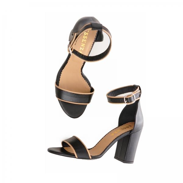 Sandale cu toc gros, din piele neagra cu si bej 3