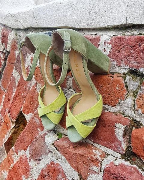Sandale kaki si galben lime 0