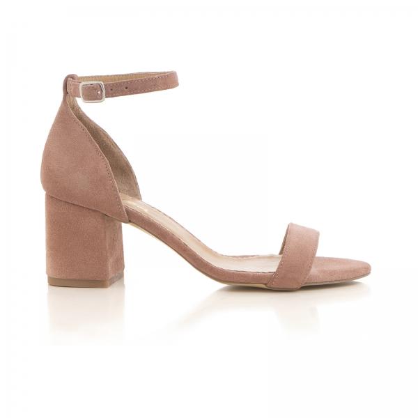 Sandale din piele intoarsa roz somon, cu toc gros. 0