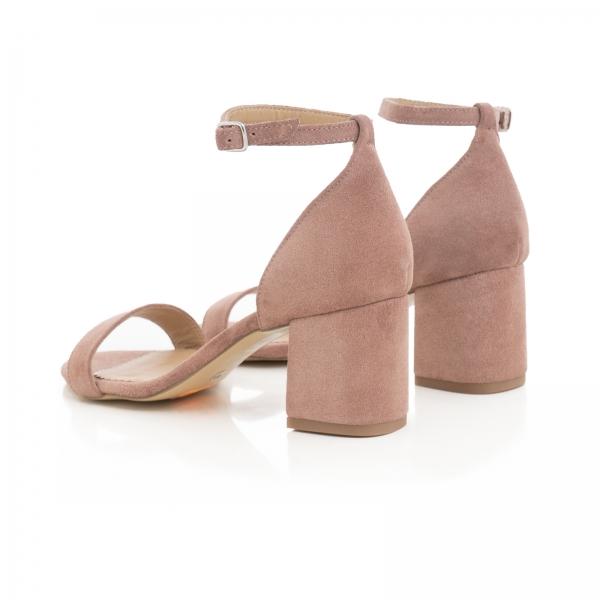 Sandale din piele intoarsa roz somon, cu toc gros. 3