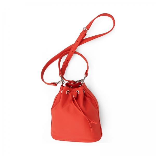 Poseta Kristy bucket din piele rosu corai 2