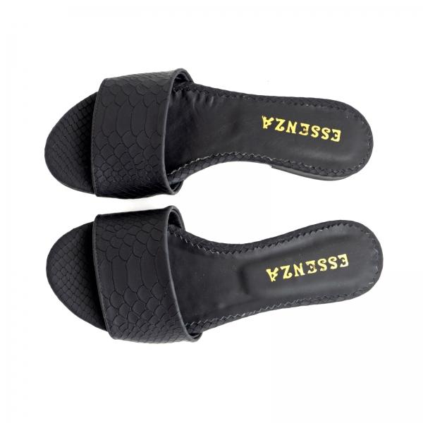 Flip flops din piele naturala neagra croco 3