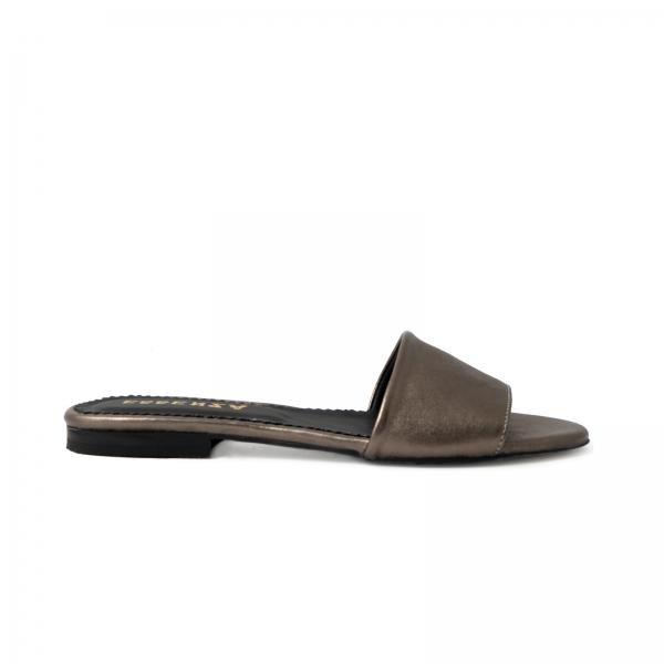 Flip flops din piele laminata bronz 0