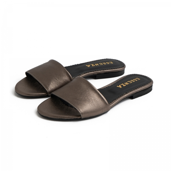 Flip flops din piele laminata bronz 2