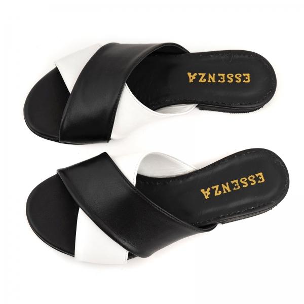 Flip flops din piele naturala neagra si alba 5