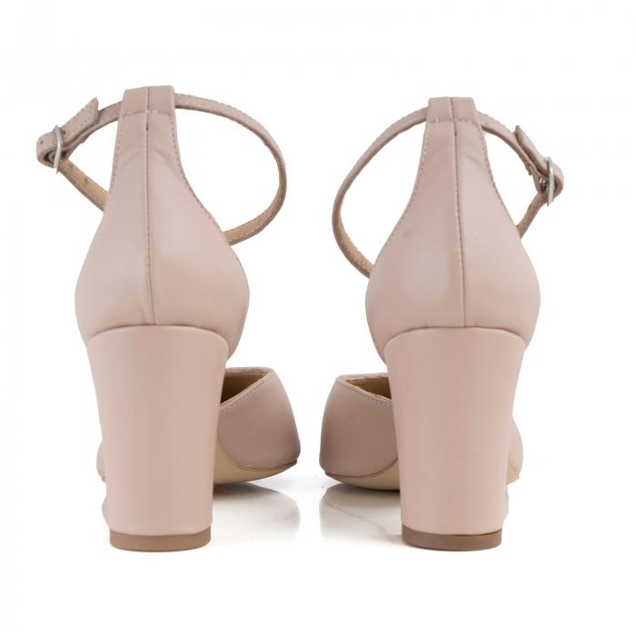 Pantofi cu decupaj si bareta la calcai, din piele naturala nude rose. 2