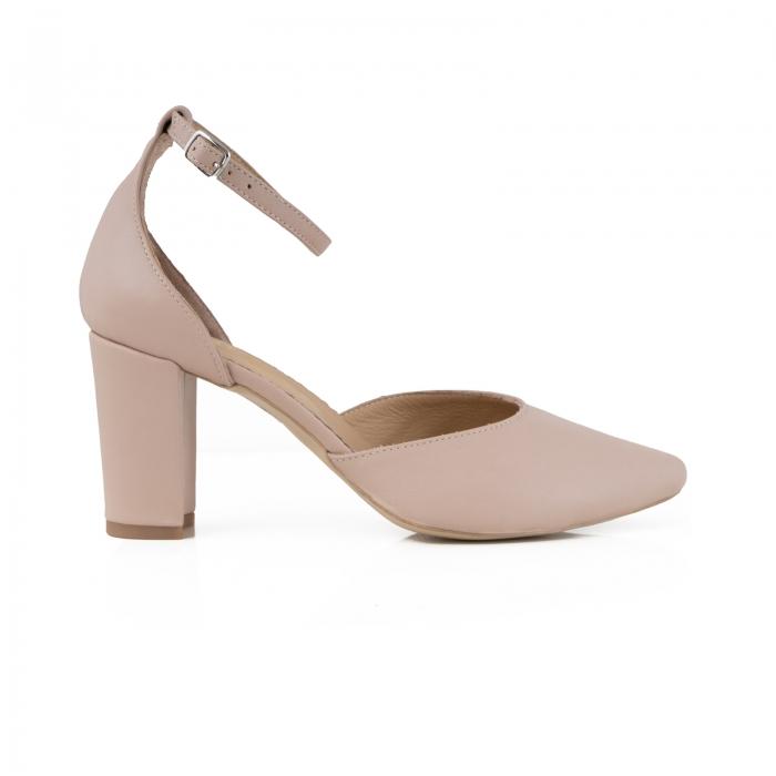 Pantofi cu decupaj si bareta la calcai, din piele naturala nude rose. 0