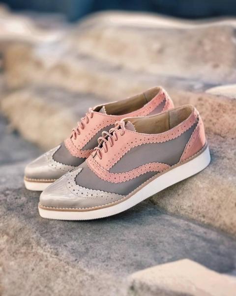 Pantofi din piele roz si cafenie 1