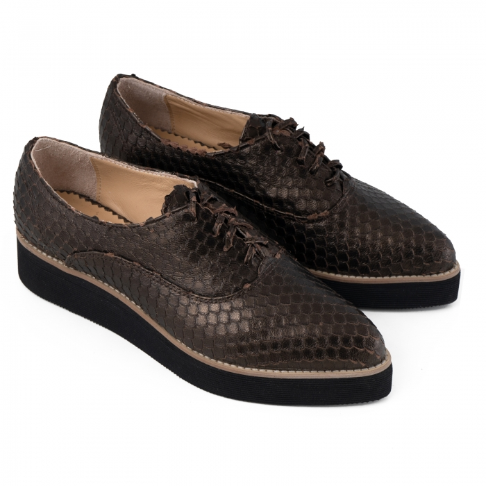 Pantofi oxford cu varf ascutit, din piele bronz metalizat cu aspect tip solzi 3