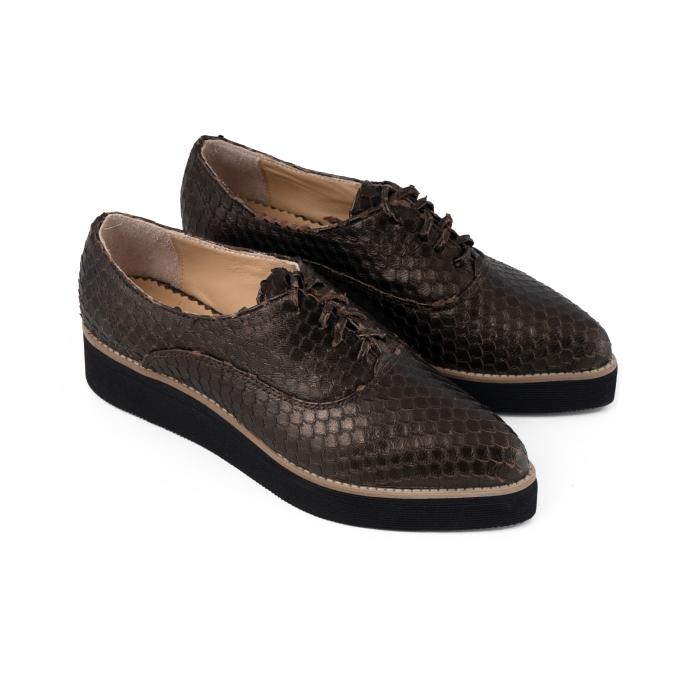 Pantofi oxford cu varf ascutit, din piele bronz metalizat cu aspect tip solzi 2