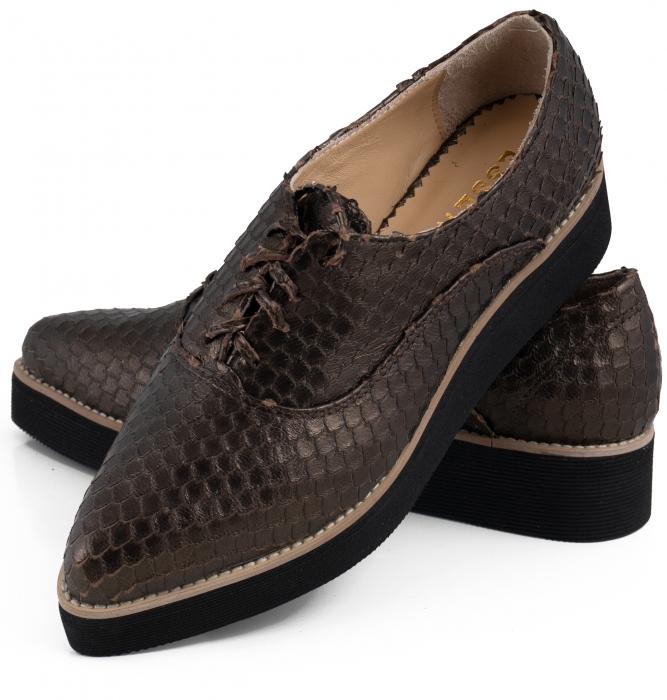 Pantofi oxford cu varf ascutit, din piele bronz metalizat cu aspect tip solzi 5