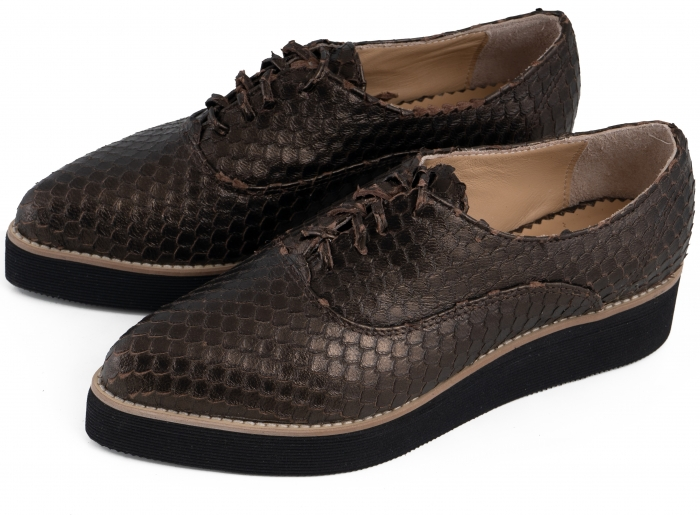 Pantofi oxford cu varf ascutit, din piele bronz metalizat cu aspect tip solzi 4