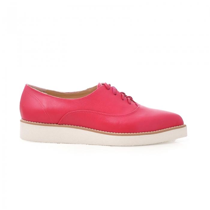 Pantofi oxford, cu varf ascutit, din piele ciclam. 0