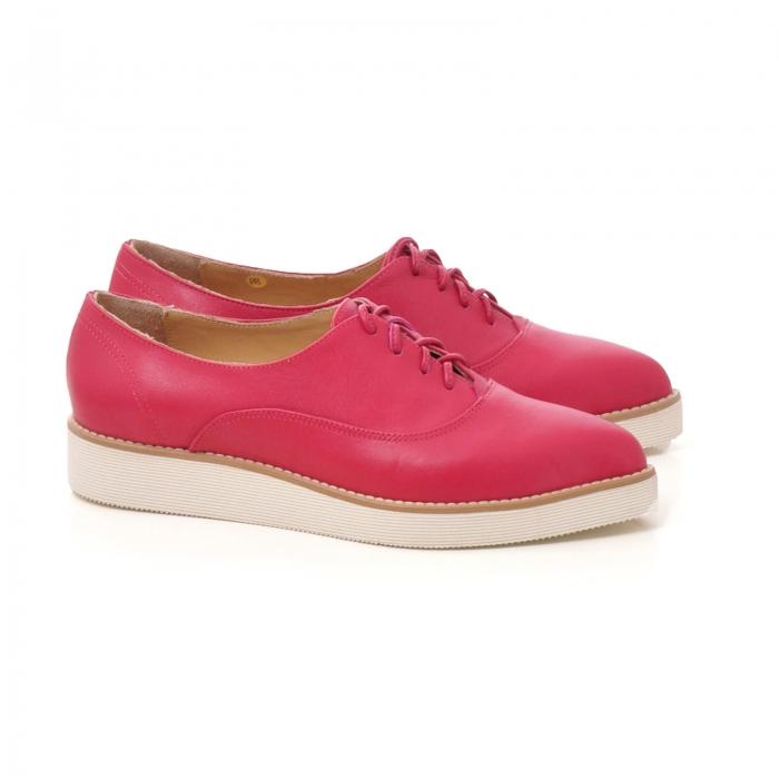 Pantofi oxford, cu varf ascutit, din piele ciclam. 1