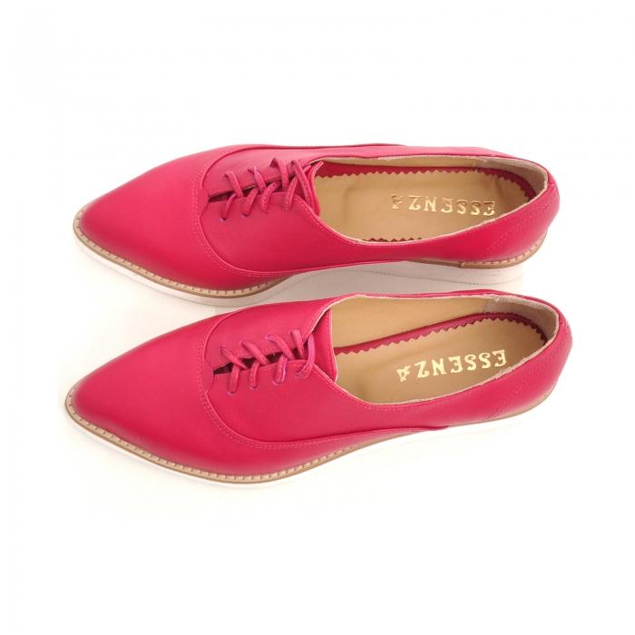 Pantofi oxford, cu varf ascutit, din piele ciclam. 3