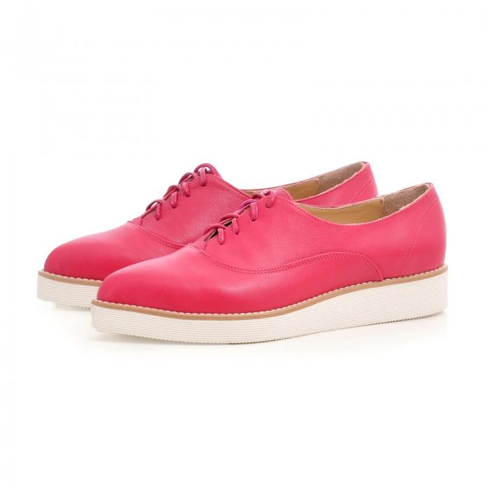 Pantofi oxford, cu varf ascutit, din piele ciclam. 2