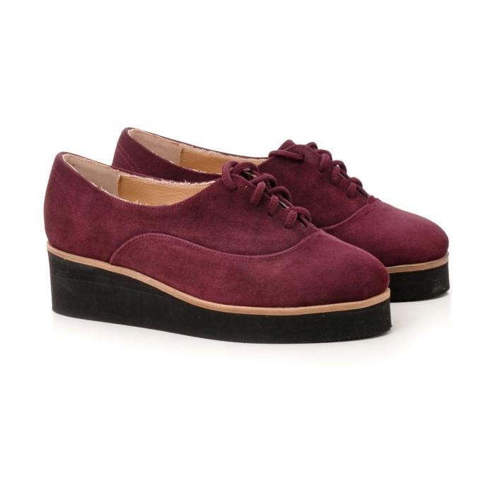 Pantofi oxford, din piele intoarsa mov 1