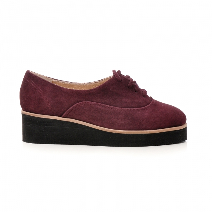 Pantofi oxford, din piele intoarsa mov 0
