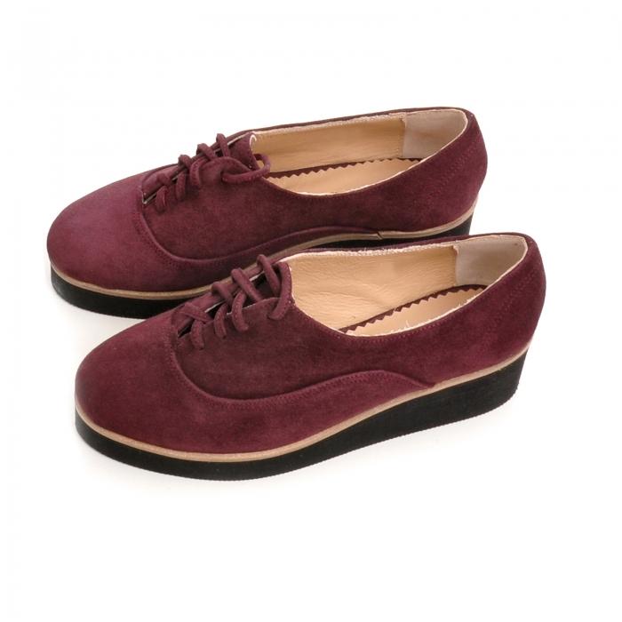 Pantofi oxford, din piele intoarsa mov 2