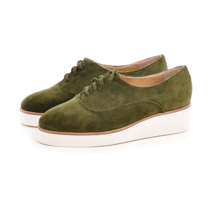 Pantofi oxford, din piele intoarsa vernil 1