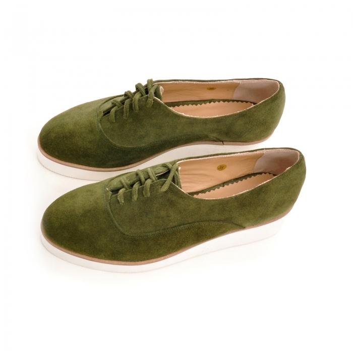 Pantofi oxford, din piele intoarsa vernil 2
