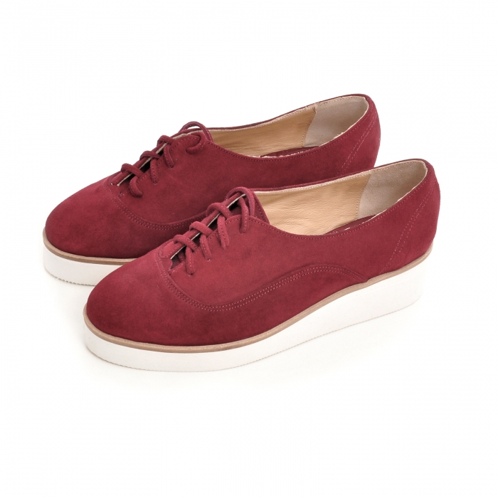 Pantofi oxford, din piele intoarsa visinie 2