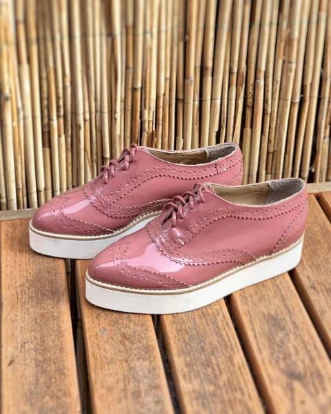 Pantofi oxford din piele lacuita somon 0