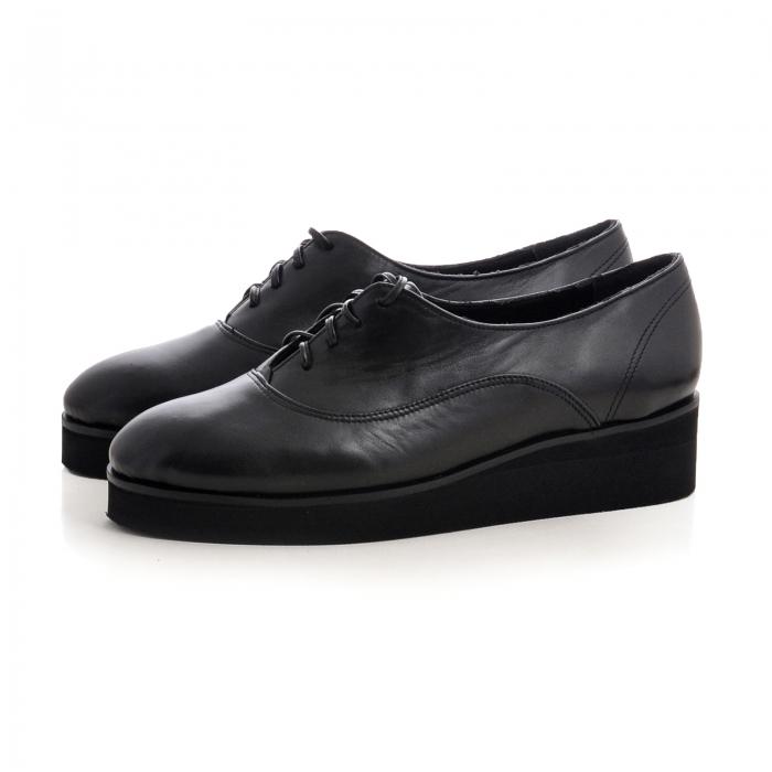 Pantofi oxford, din piele naturala neagra 2