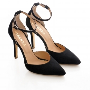 Pantofi stiletto cu decupaj interior si exterior. din piele intoarsa neagra 1