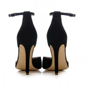 Pantofi stiletto cu decupaj interior si exterior. din piele intoarsa neagra 3