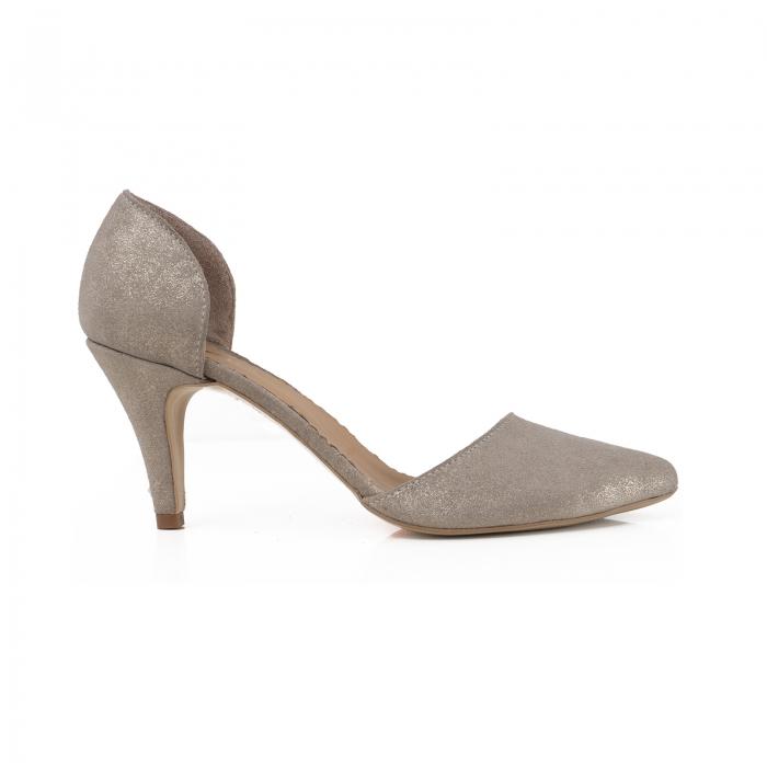 Pantofi stiletto decupati interior/exterior, realizati din piele intoarsa crem glitter 0