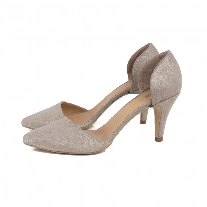 Pantofi stiletto decupati interior/exterior, realizati din piele intoarsa crem glitter 1