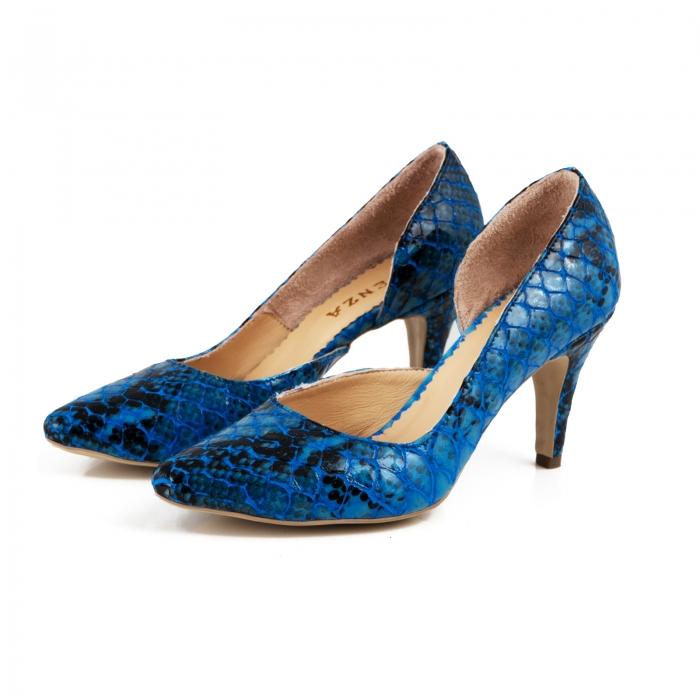 Pantofi stiletto din piele lacuita cu aspect tip sarpe, albastru, cu decupaj interior 1