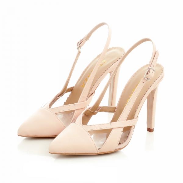 Pantofi stiletto din piele bej si plastic transparent 2