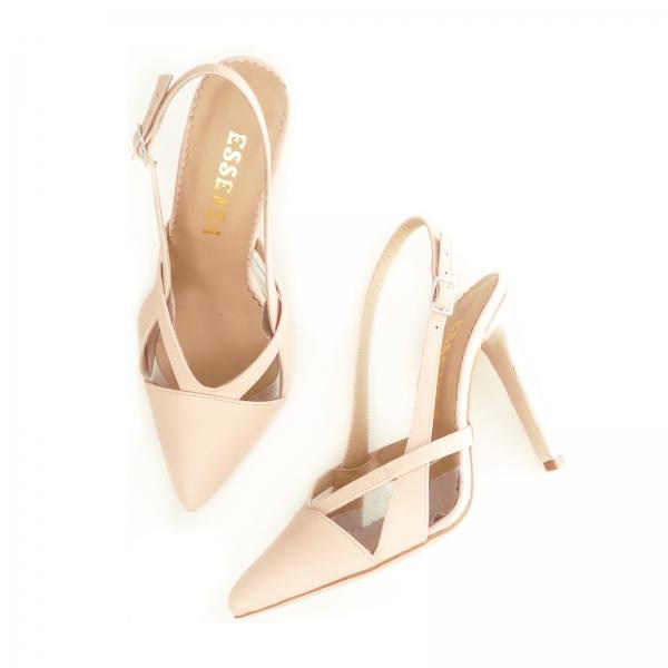 Pantofi stiletto din piele bej si plastic transparent 3