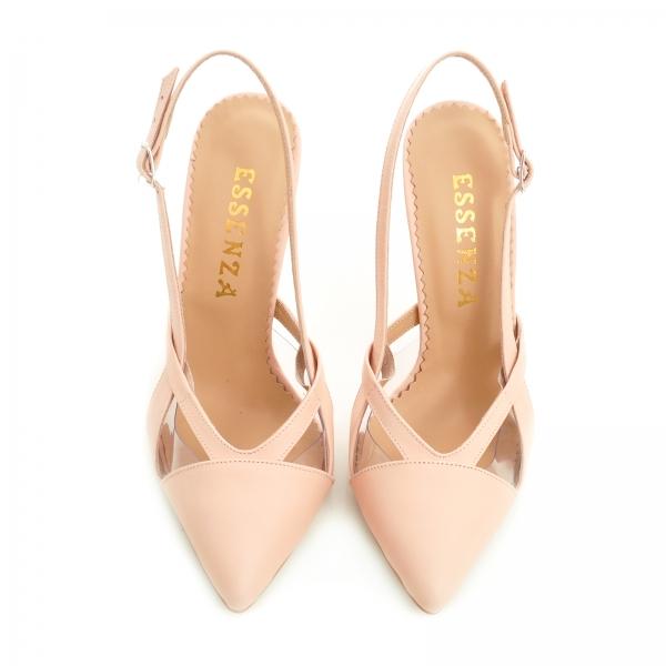 Pantofi stiletto din piele bej si plastic transparent 1