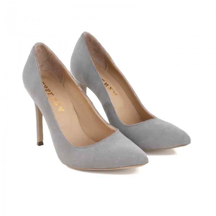 Pantofi Stiletto din piele intoarsa gri 1