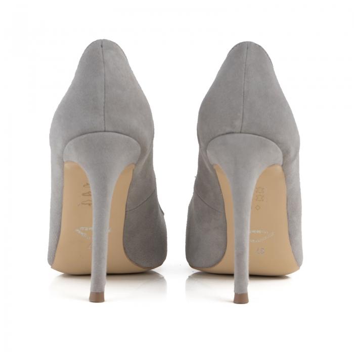 Pantofi Stiletto din piele intoarsa gri 3
