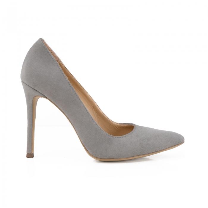 Pantofi Stiletto din piele intoarsa gri 0