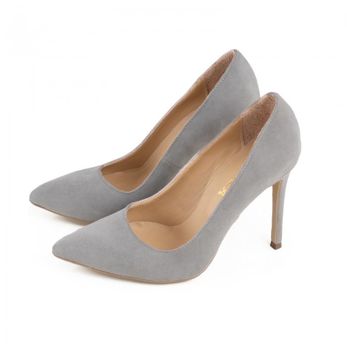Pantofi Stiletto din piele intoarsa gri 2