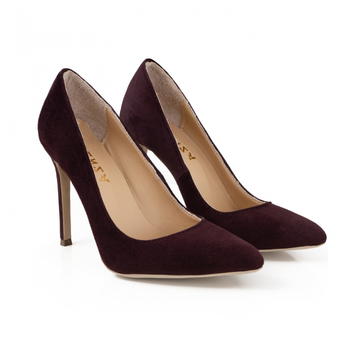 Pantofi Stiletto din piele intoarsa mov 2