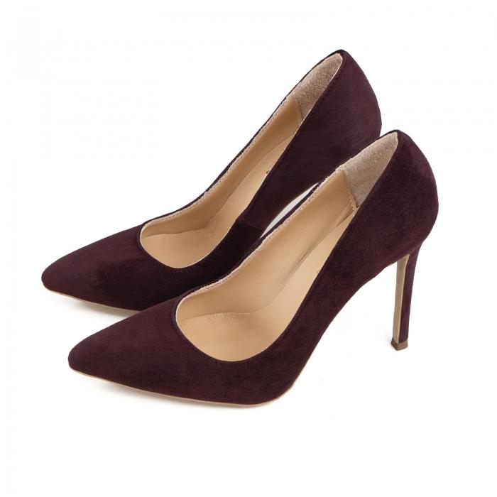 Pantofi Stiletto din piele intoarsa mov 1