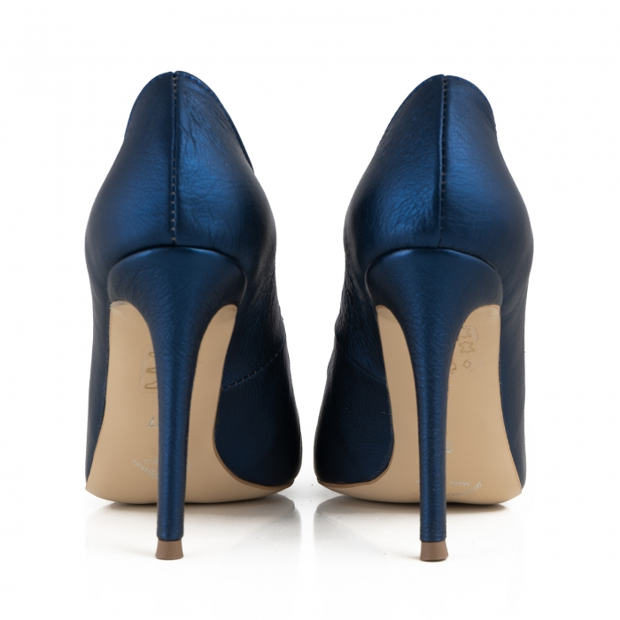 Pantofi Stiletto din piele laminata albastru metalic 3
